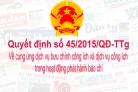 Quyết định số 45/2015/QĐ-TTg của Thủ tướng Chính phủ